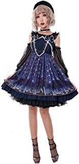 Women's Girls Sweet Lolita Dress Off Shoulder Chiffon Gothic Fancy Dresses Plus Size Purple Star Printed Cosplay Costumes