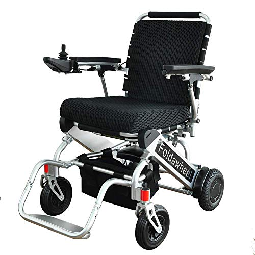 Foldawheel PW-999UL (2 Batteries+2 yrs Warranty+Free Travel Bag) Open/Fold in 1 Second Now. The lightest & Most Compact Powered Wheelchair in The World (only 43 lbs+3 lbs per Li-ion Battery).