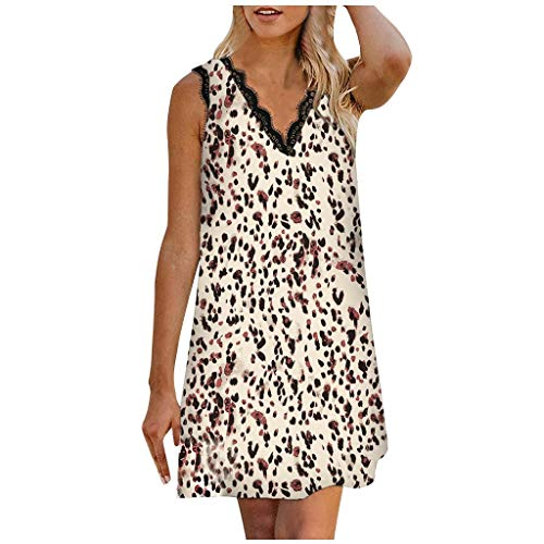 Vestido de otoño para Mujer, Mini Vestido Informal sin Mangas con Estampado de Encaje y Cuello en V con...