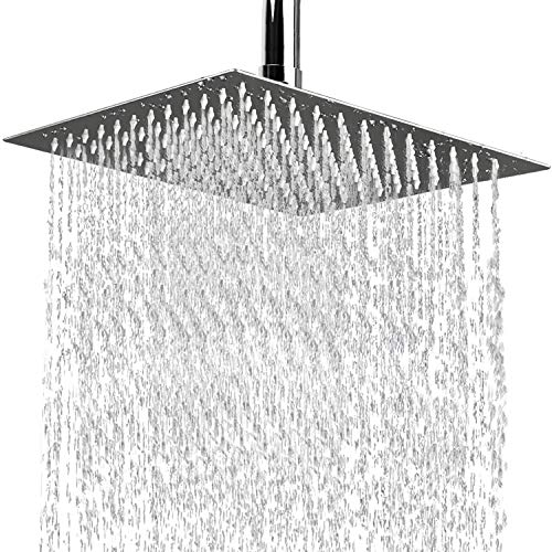 Rain Shower Head, 12 Inch Large Square High Pressure Waterfall Stainless Steel Showerhead, Ultra Thin Rainfall High Flow Adjustable Fixed Shower Head with Polish Chrome Finish