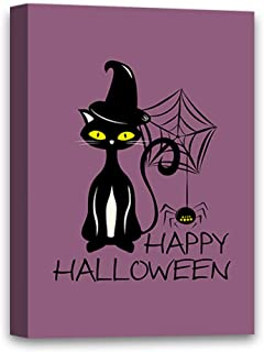 Vizor Halloween Party Canvas Wall Art Cat and Spider Home Decor Prints 8