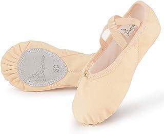 Soudittur Scarpe Danza Classica Tela Scarpette Ballo Mezze Punte Scarpe da Ballerina Ginnastica Ballo Pantofole per Bambin...