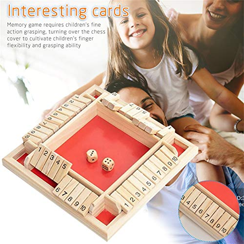 Janly Clearance Sale Christmas Kids Gifts, Traditional Four Sided Wooden 10 Number Pub Bar Board Dice Game For Shut the Box, Toys and Hobbies (Red)