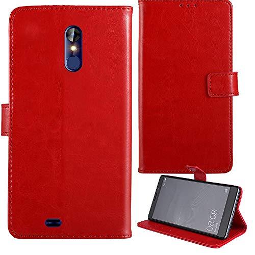"""Lankashi Flip Premium Retro Business Cuir Housse Coque Étui pour Logicom Le Hop 6.18"""" Cas Magnétique Téléphone Couverture Protecteur Portefeuille Cover Case Support Book Stand (Rouge)"""