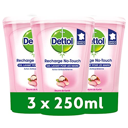 DETTOL Recharge No-Touch Savon Liquide Mains 250 ml - Action Nettoyante - Beurre de Karité