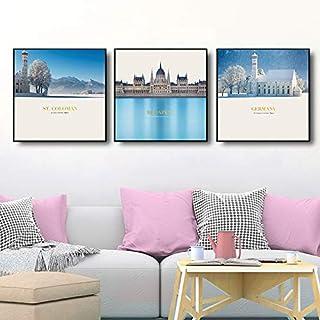 Mies' 北欧風の 絵画 3枚 セット (30cm×30cm×9mm) 赤レンガの壁 や 寝室 の 壁 を お洒落 に 描き出します お洒落 かわいい 綺麗 きれい 壁掛け 絵 ポスター インテリア 飾り アートパネル モダン デザイン すっ...