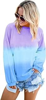IRISGOD Womens-Tie-Dye-Pullover-Tops Casual Color Block Long Sleeve Crew Neck Sweatshirts