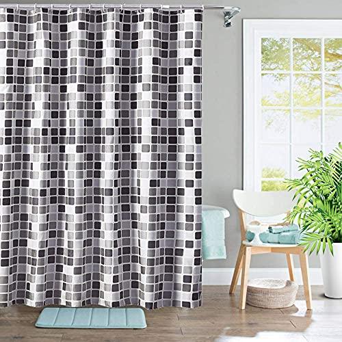 Duschvorhang, Mosaikverdickter Wasserdichter Badezimmervorhang, Haushalts-duschvorhang Aus Polyestergewebe, 200 * 200 cm Anti-schimmel- Und Antibakterieller Duschvorhang