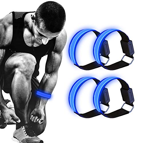 RainRose LED Armband, Leuchtende Armbänder für Kinder Leichtes Joggen Leuchtende Bänder für Handgelenk, Arm, Knöchel, Bein, Lauflicht für Läufer, LED Lichtstreifen Reflektoren Laufen, 4 Pack (Blau)