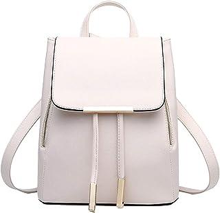 Pahajim Rucksack Handtaschen Damen Daypack Schultertasche Schulrucksack Backpack PU Waterproof Anti Diebstahl Tasche für Schule Reise Arbeit Weiß