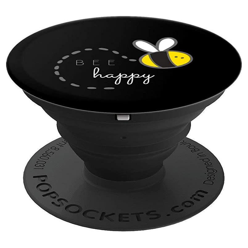 Bee Happy Yellow Black Bumble Bee Pun Quote -Save The Bees - PopSockets Grip and Stand for Phones and Tablets fy696905374
