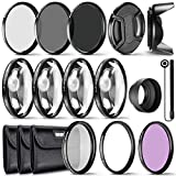 Neewer Filtro Accesorios kit(49mm),Filtros UV CPL FLD,kit Filtros Macro Closose Up (+1 +2 +4 +10),Filtros ND2 ND4 ND8,Funda CapHood,Ajuste para Cámaras Sony Alpha A3000,NEX Series DSLR