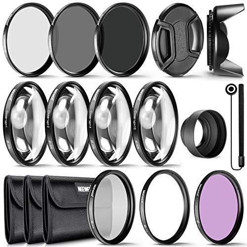 Neewer 49mm Objektivfilter und Zubehör-Kit: UV CPL FLD ND2 ND4 ND8 Filter, Filterset für Makro-Nahaufnahmen (+1 +2 +4 +10) usw geeignet für Sony Alpha A3000 NEX-Serien DSLR-Kameras