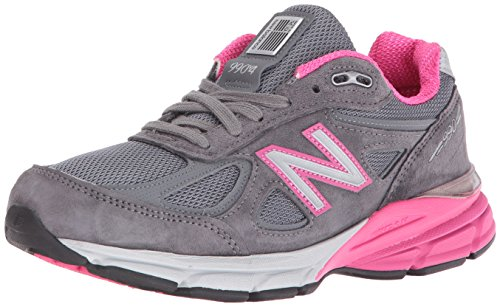 New Balance Women's w990v4 Running Shoes, Grey/Pink, 9.5 B US