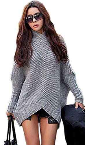 Mikos*Damen Poncho Strick Pullover Jacke Cardigan Fledermausärmel Japan Style SM Schwarz Grau (423) (Grau)