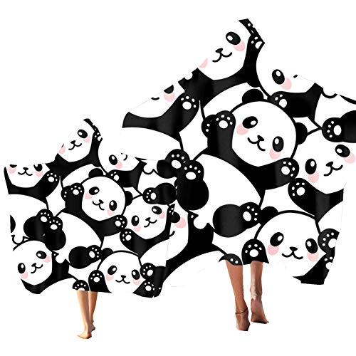 Niños Toalla de Playa Toalla con Capucha Animal Gato Panda Búho Leopardo Impresión Adulto Toalla de Baño Poncho Toalla Vacaciones de Playa Nadar Padre-Hijo Regalo (Color 5, Adulto: 150 × 200 cm)