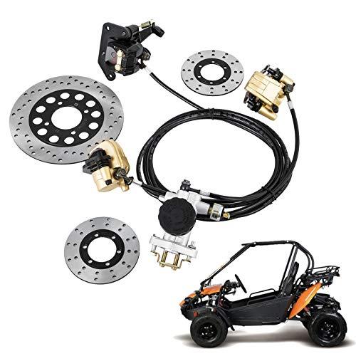 Mophorn GO-KART Brake Master Cylinder Kit Go Kart Hydraulic Brake Kit Universal Go Karts Brake Kit Kandi Complete Including Master Cylinder, Hose, Caliper, Pad for 150cc