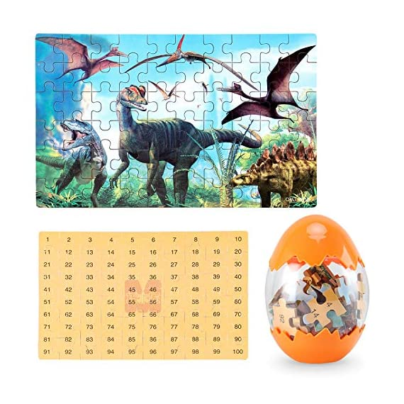 Dinosaur Puzzle, Wooden Puzzles 60 Pieces Puzzles for Kids 3 Years+ Dino Toys 2 Pack Boys Girls Gift 4 ❤SUPER HUGE SIZE DINOSAUR EGG TOY:8.7'' * 5.2 '' , kids need two hands to hold it, combining dinosaur egg with dinosaur puzzle, all kids love it! ❤THE BEST GIFT: Dinosaur Puzzle is suitable for children of 4-5-6-7-8-9-10-11-12 years old as a gift, Christmas, Easter, birthday, game party. ❤EDUCATIONAL DETAILS: This children's dinosaur puzzle allows kids to explore our prehistoric time period, learning about the environment in which the dinosaurs from millions of years ago lived.