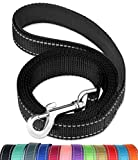 FunTags 6FT Reflective Dog Leash with Soft Padded Handle for Training,Walking Lead for Medium & Small Dogs,3/4 Inch Wide,Black