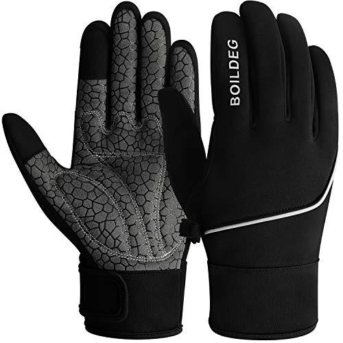 boildeg Fahrradhandschuhe Radsporthandschuhe rutschfeste und Stoßdämpfende Mountainbike Handschuhe Herren Damen (Black, M)