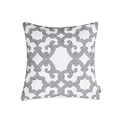 HWY 50 Grey Pillows Decorative Throw Pillows Covers For Couch Sofa 18 x 18 inch, 1 Pc Cotton Embroidered Throw Pillows Cases For Bed, European Gray Decor Geometric Pattern Cushion Covers