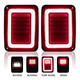 Upgraded Jeep Wrangler JK LED Tail Lights Smoked for 07-18 Jeep Wrangler Reverse Light Turn Signal Lamp Running...