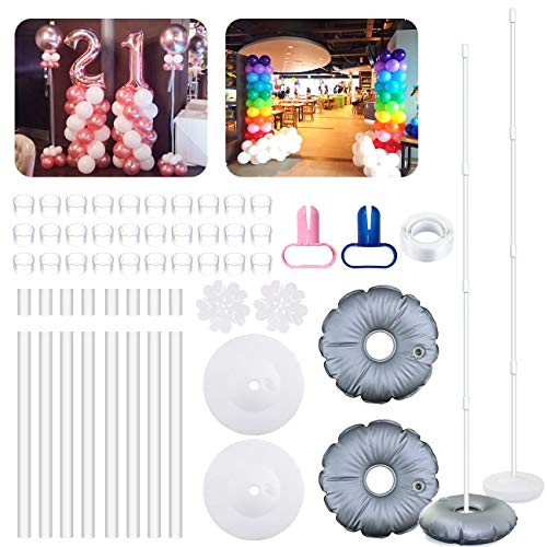 2 Set Balloon Column Kit Base Stand and Pole 61 Inch Height + 30Pcs Balloon Rings, Balloon Tower Decoration for Birthday Party Wedding Party Christmas Decorations