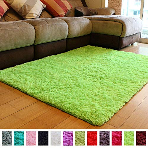 PAGISOFE Super Soft and Bright Colored Fluffy Shag Area Rugs and Carpets, Cute Decor, Cozy Accent, Shaggy Plush Living Room Carpets Bedroom Rugs Non Slip, 2x3 Lime Green