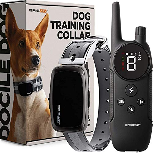 BRISON Dog Training Collar - 3 Modes - Rechargeable Waterproof No Shock Anti Bark Collar for Small Medium and Large Dogs with Remote Trainer E-Collar 1000 ft