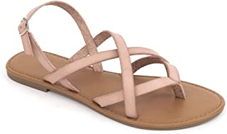 Women's Summer Strappy Flat Sandals, Adjustable Casual Fisherman Sandal with Open Toe Slingback Gladiator Sandals