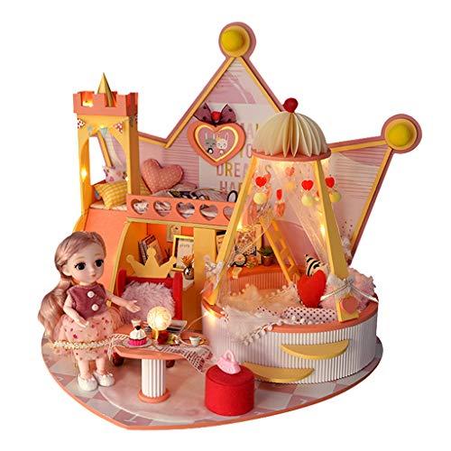 perfeclan Kit Creativo de Madera DIY para apartamento Mini casa de muñecas con Muebles de luz LED casa Artesanal casa de muñecas Modelo de Juguete para niños