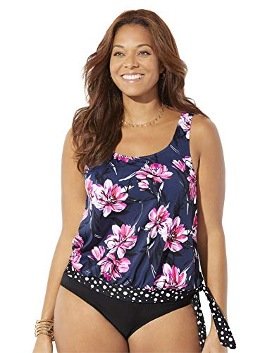 SWIMSUITSFORALL Swimsuits for All Women's Plus Size Side Tie Blouson Tankini Top 26 Navy Pink Floral