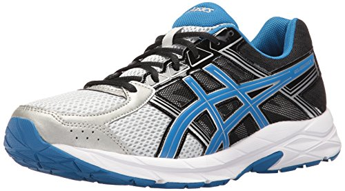 ASICS Men's Gel-Contend 4 Running Shoe, Silver/Classic Blue/Black, 15 M US