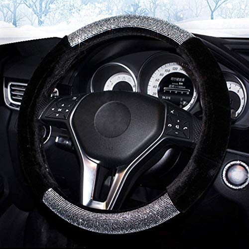Labbyway Diamond Short Plush Fluffy Steering Wheel Cover, with Bling Bling...