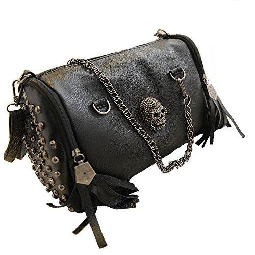 FiveloveTwo Damen Handtasche Griff Tasche Schultertaschen Shopper Umhängetaschen Punk Schädel Geldbörse Handtasche, Schädel, 5