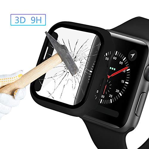 Nero Custodia Protezione Rigida Apple Watch 44mm Serie 5 Serie 4 Protezione Schermo con Vetro Temperato Cover Apple Watch 5 Pellicola Protezione Custodia Integral per Apple Watch Serie 5 Serie 4 44mm