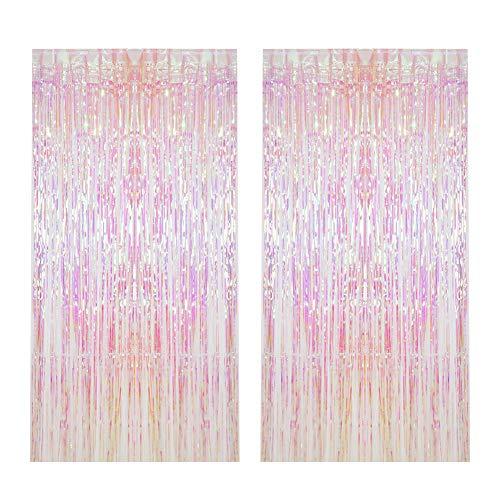 CCINEE 2pcs Metallic Foil Fringe Curtain Transparent Pink Backdrop Decorative Door Window Curtain for Birthday Party Baby Shower Wedding Decoration
