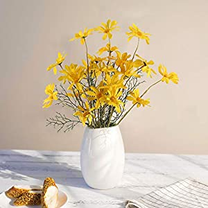 MHMJON 4Pcs Artificial Flowers Fake Silk Daisy Flowers Yellow Artificial Mums Sunflowers Bouquets for Wedding DIY Centerpieces Party Home Kitchen Office Spring Indoor Decorations