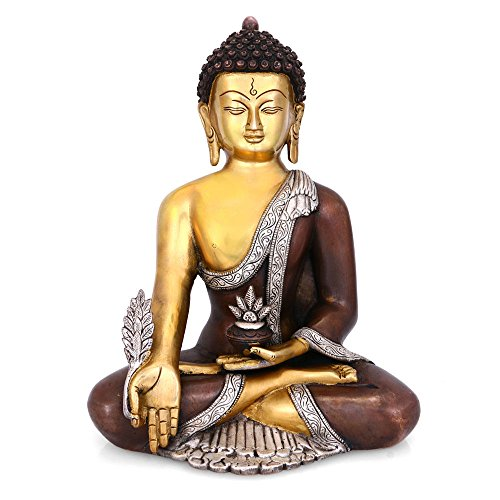 CraftVatika 1 Ft Large Buddha Brass Statue Tibet Sakyamuni Medicine Buddha Idol- Handmade Indian Sculpture Art