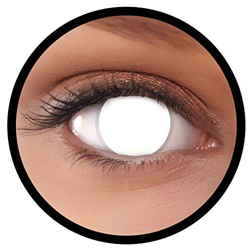 Farbige Kontaktlinsen weiß Blind White 60% Sicht + Behälter, weich, ohne Stärke in als 2er Pack (1 Paar)- angenehm zu tragen und perfekt für Halloween, Karneval, Fasching oder Fastnacht Kostüm