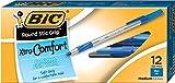 BIC Round Stic Grip Xtra Comfort Ballpoint Pen, Medium Point (1.2mm), Blue, 12-Count