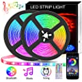 LED Strip Lights 32.8ft, Music Sync Color Changing RGB Light Strip with Remote Waterproof, Flexible SMD 5050 300 LEDs Neon Tape Lights Dimmable for Room Kitchen Christmas Party, UL Listed Power Supply