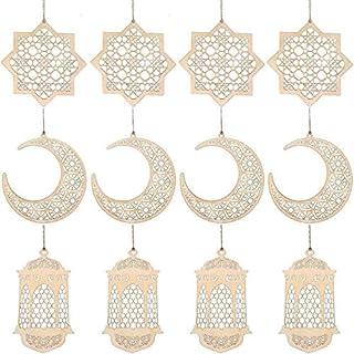 12 Pieces Eid Mubarak Ornament Hollow Wooden Pendant Ramadan Ornament Hanging Moon Lantern Star Shape Ornament for Muslim ...