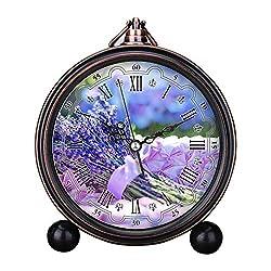 GIRLSIGHT Art Retro Living Room Bedroom Decorative Non-Ticking, Easy to Read, Quartz, Analog Large Numerals Bedside Table Desk Alarm Clock-469.Lavender on Basket