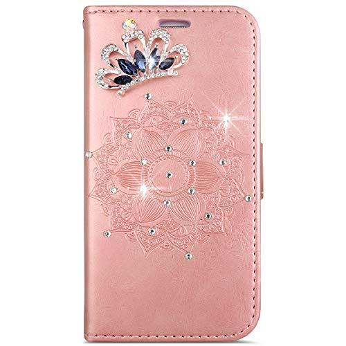 MoreChioce HTC One M8 Hülle,HTC One M8 Hülle Leder Glitzer, 3D Diamant Strass Kristall Rose Gold Krone Mandala Muster Schutzhülle Klapphülle Flip Case Wallet Magnetverschluß für HTC One M8 / M8S