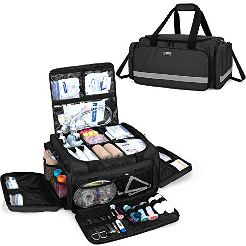 Trunab First Responder Bag Empty, Professional Medical Supplies Bag First Aid Kits Bag with Inner Dividers for Home Health Nurse, Community Care, EMT, EMS, Bag Only, Black - Patented Design