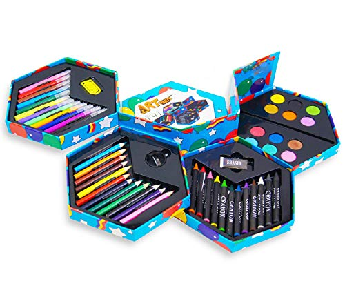 MTS Childrens 52 Pcs Craft Art Artists Set Hexagonal Box Crayons Paints Pens Pencils
