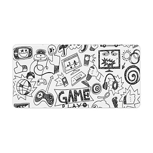 Extended Gaming Mouse Pad with Stitched Edges Large Keyboard Mat Non-Slip Rubber Base Monochrome Sketch Style Gaming Racing Monitor Device Gadget Teen 90's Desk Pad for Gamer Office 12x24 Inch