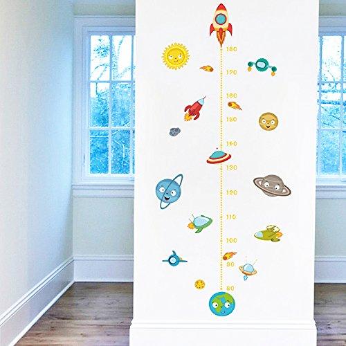 Pegatina pared vinilo decorativo medidor altura naves espaciales para cuartos bebes niños juegos guarderias colegios de CHIPYHOME