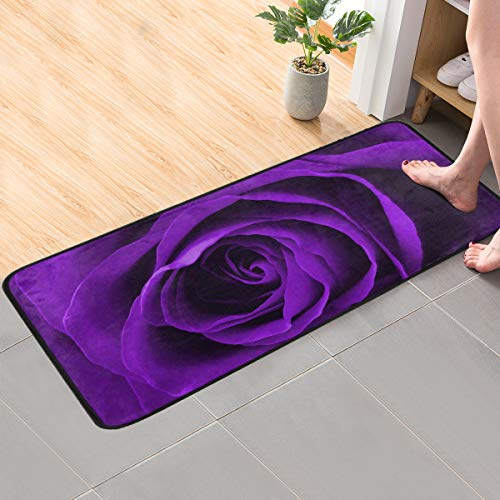 CaTaKu Romantic Purple Rose Area Rug 39x20 Inches Polyester Area Rug Non-Slip Floor Rug Runner Washable Carpet Mat for Kitchen Dinning Room Home Decorative